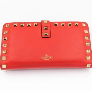 Calfskin Rockstud Wallet Red